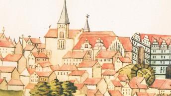 Detailansicht-von-Bergen-Anfang-des-17.Jhs.-aus-der-Stralsunder-Bilderhandschrift-aquarellierte-Zeichnung-eines-unbekannten-Kuenstlers