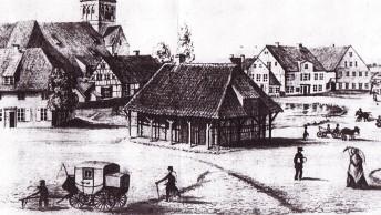 Zeichnung---Markt-mit-Scharren-und-Pfuhl-in-Bergen-um-1850-der-Malerin-Antonie-Biel